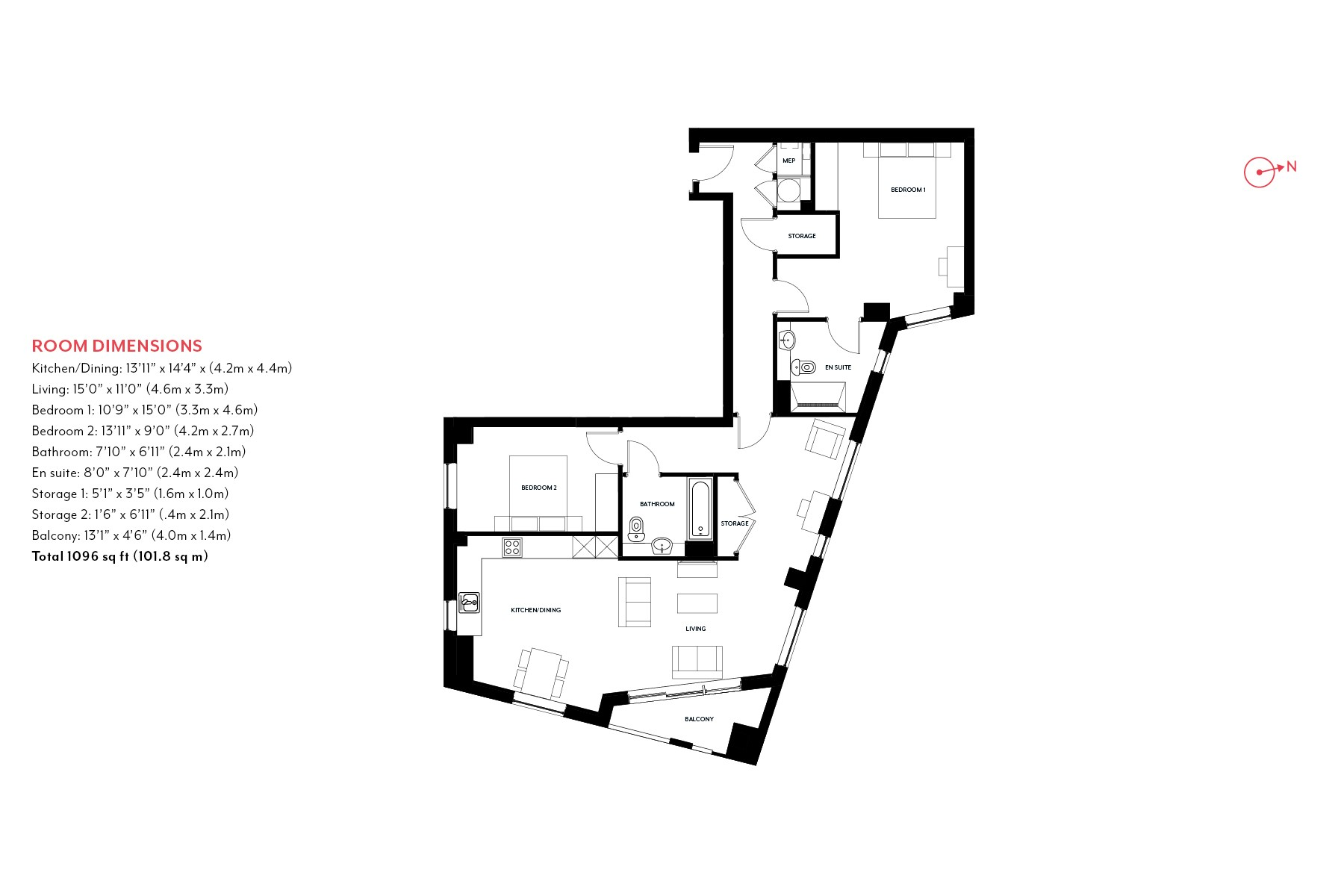 2 Bedroom Floorplan Type 2 | Nine Elms Point | MyLo London