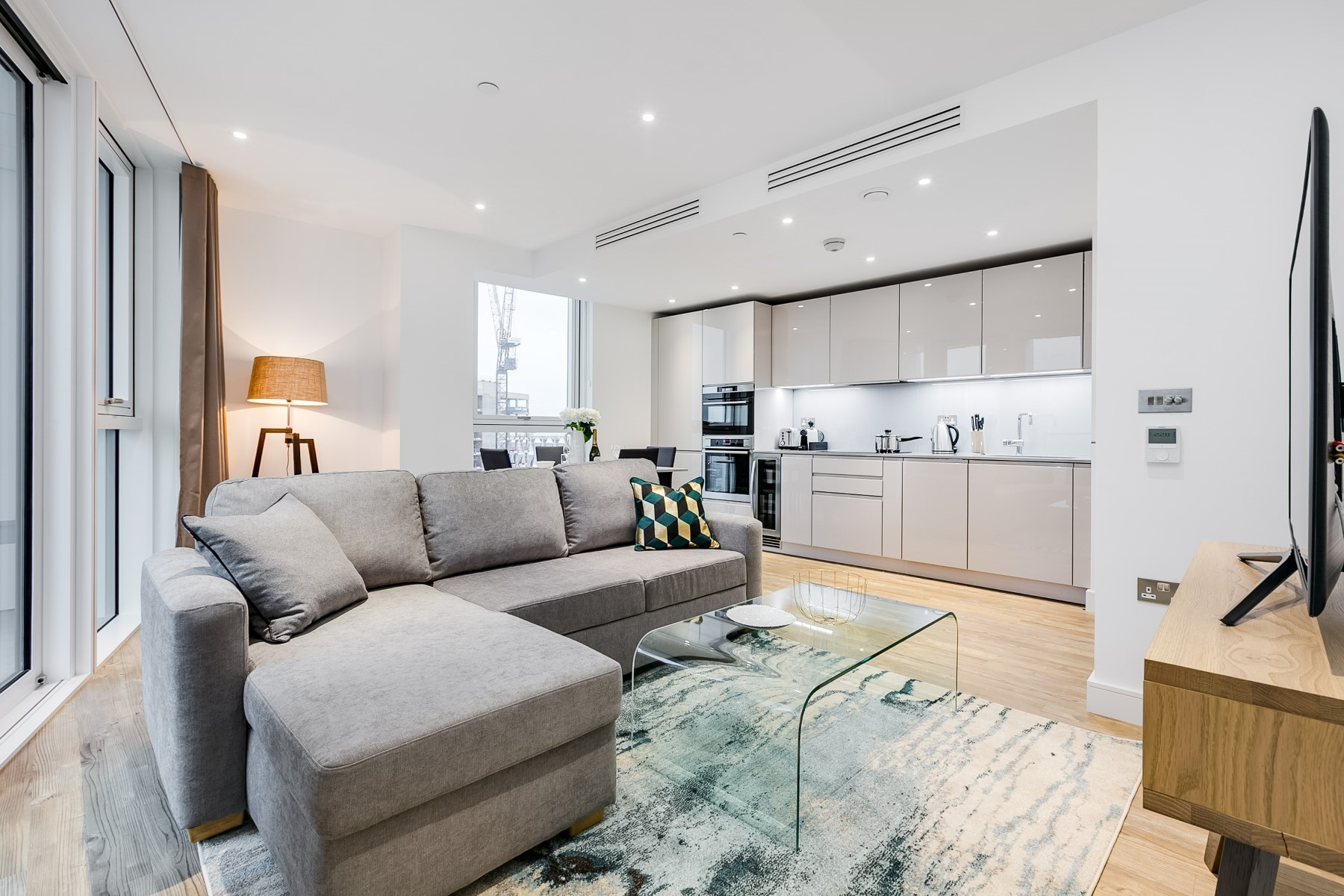 Open plan living area, one bedroom apartment | Nine Elms Point | MyLo London