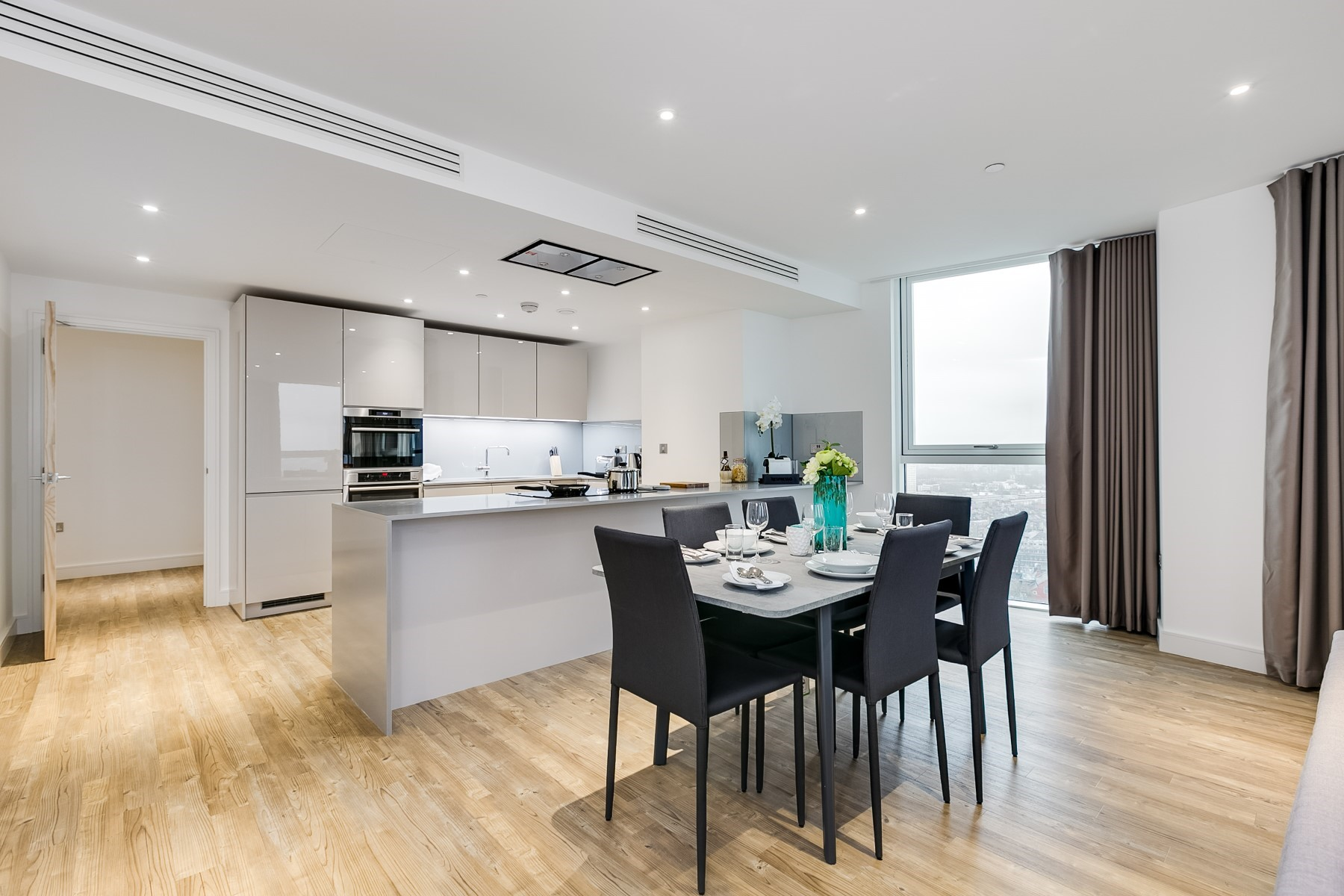 Open Plan Kitchen Dining Area, 3 Bedroom Apartment | Nine Elms Point | MyLo London